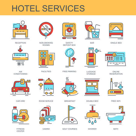 Hotel service. Set of flat, vector, linear icons. Seth contains icons such as retsepshen, fitness center others.