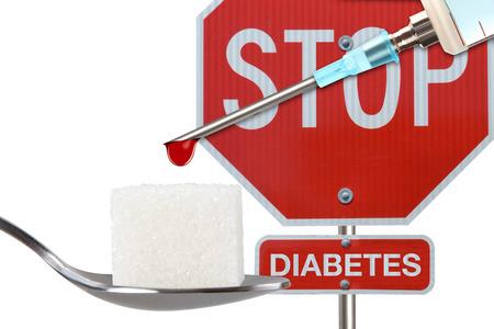 diabetes syringe: Stop Diabetes,insulin syringe on white background