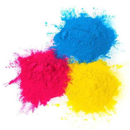 copier: Color copier toner cyaan, magenta, geel op wit wordt geïsoleerd
