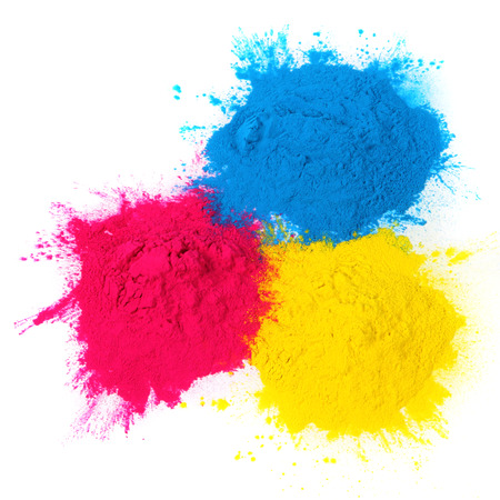 Color copier toner cyan magenta yellow isolated on white