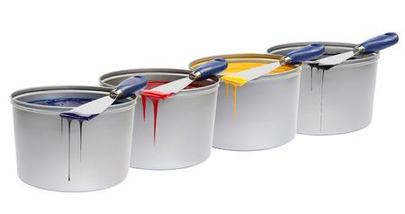 CMYK trowels, with printing ink press color, cyan, magenta, yellow Reklamní fotografie - 25830650