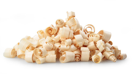 Wood shavings isolated on white background Banque d'images