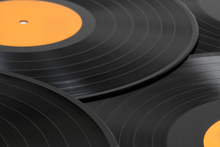 Black vinyl records background  photo