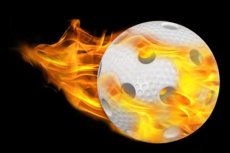 flying foorball ball on fire  photo