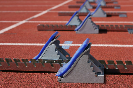 Starting blocks at the start  Banque d'images