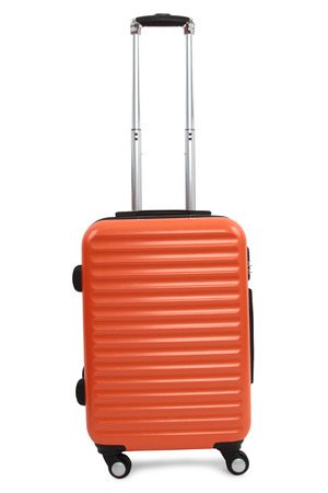 piece of luggage: orange suitcase isolated on white background Stock Photo