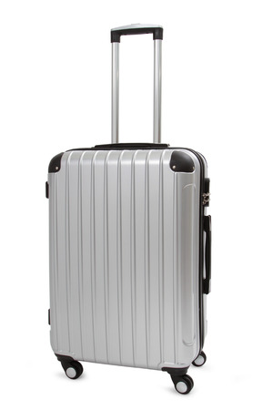 silver suitcase isolated on white  Banque d'images