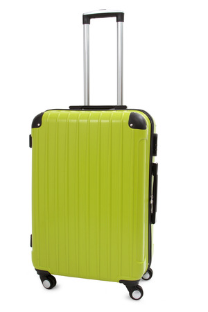 piece of luggage: green suitcase isolated on white background