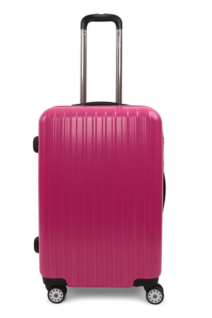 piece of luggage: pink suitcase isolated on white background
