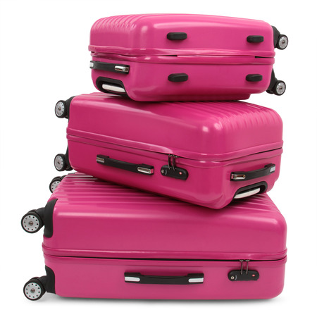 three pink suitcase isolated on white background  photo