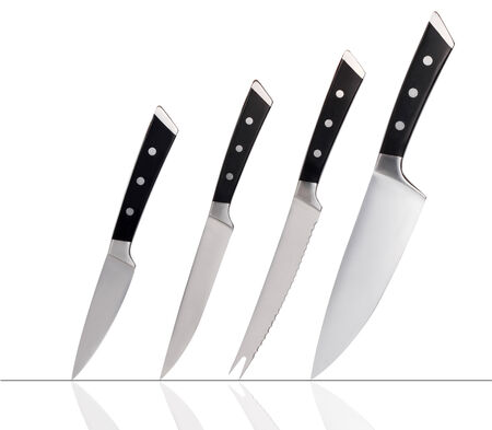 Set of knives isolated on white  Stock Photo