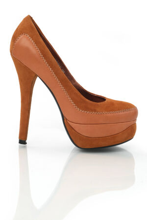 close up of a brown high heels on white background with clipping path  photo