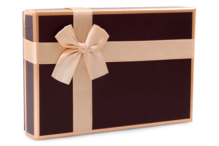 brown gifts box and gold bow isolated on white