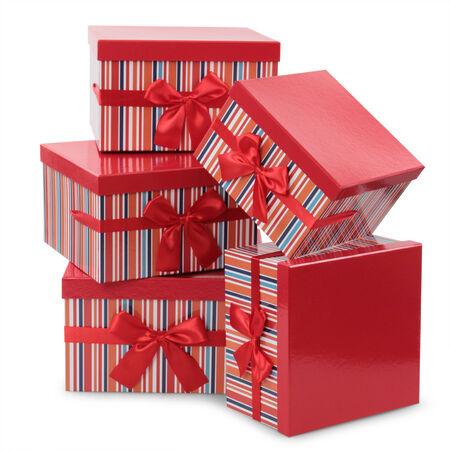 red gift boxes on white background photo