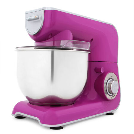 purple electric mixer isolated on white background photo