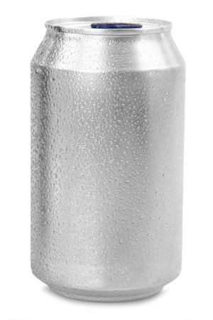 330 ml aluminum soda can with water drops isolated on white Standard-Bild