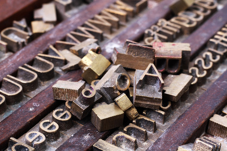 Old metal letterpress printing blocks