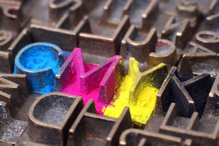 Cmyk made from old letterpress blocks photo