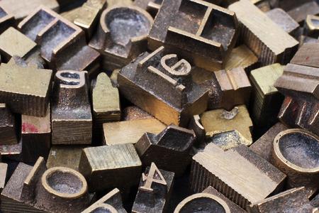 old metal: Old metal letterpress printing blocksth