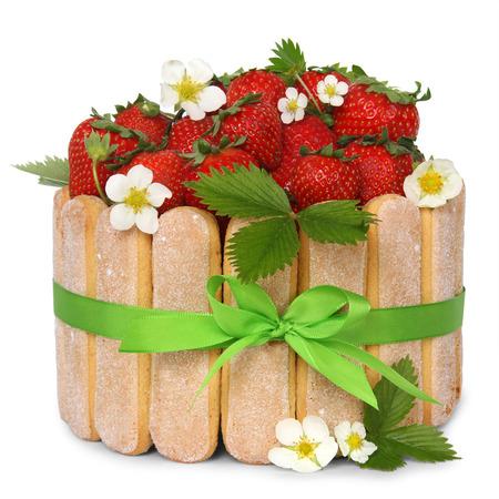 isoleted: strawberry sponge cake with fresh fruits decoration isoleted on white background