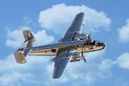 aileron: PARDUBICE, CZECH REPUBLIC - 6 June 2015: B-25 Mitchell bomber aircraf in aviation fair and century air combats, Pardubice, Czech Republic on 6 June 2015