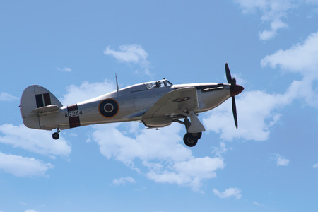 hawker: PARDUBICE, CZECH REPUBLIC - 6 June 2015: Hawker Hurricane Mk I - World War II aircraft aircraf in aviation fair and century air combats, Pardubice, Czech Republic on 6 June 2015