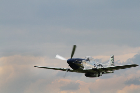 aileron: PARDUBICE, CZECH REPUBLIC - 1 June 2014: North American P-51 D Mustang aircraf in aviation fair and century air combats, Pardubice, Czech Republic on 1 June 2014