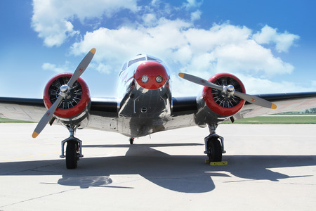 aileron: PARDUBICE, CZECH REPUBLIC - 6 June 2015: Lockheed Electra 10A aircraf in aviation fair and century air combats, Pardubice, Czech Republic on 6 June 2015