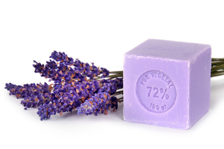 Natural lavender soap with lavender flowers on it