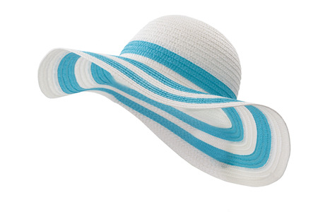 white and cyan beach hat on white background
