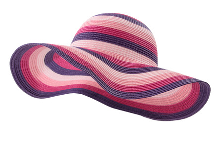 colored beach hat on white background 스톡 콘텐츠