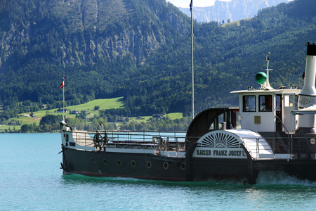 josef: ST. WOLFGANG, AUSTRIA - AUGUST 28, 2015: Steamboat Kaiser Franz Josef I. on the Lake Wolfgangsee, Austria. The ship was built in 1886.