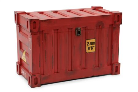 tare: red freight containers isolated on white background Stock Photo
