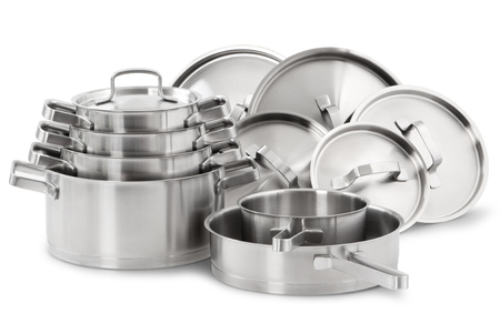 Stainless steel pots and pans isolated on white background
