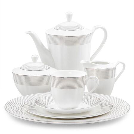tea service: porcelain tea service on a white background