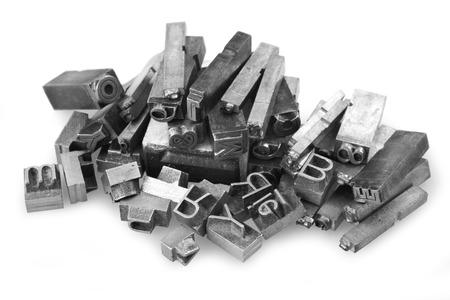 letterpress: Old metal letterpress printing blocksth