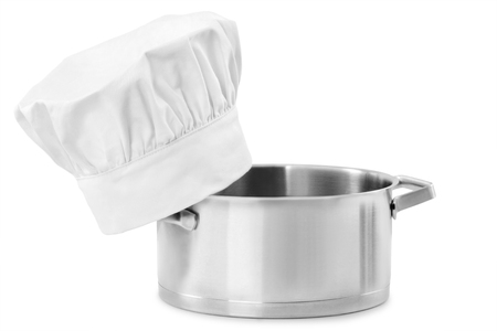 stainless steel pot: chef cap with stainless steel cooking pot isolated on white background