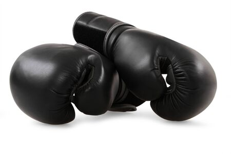 boxing glove: Black boxing gloves isolated on white
