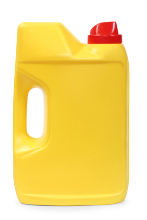 gas can: Yellow plastic gallon, jerry can isolated on a white background