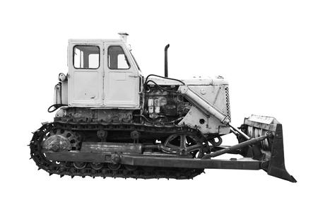 old bulldozer isolated on white background Stock Photo