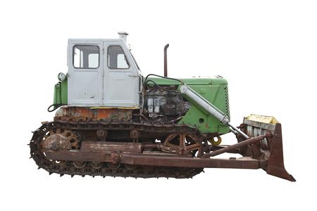 vecchio bulldozer isolato su sfondo bianco