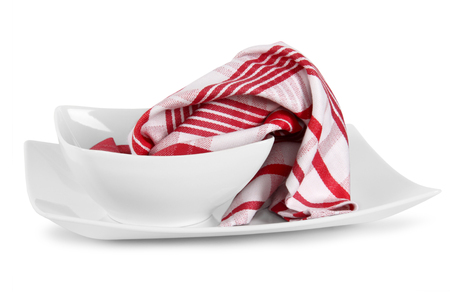 kitchen towels with dishes on white background Reklamní fotografie
