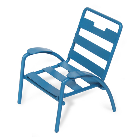 Blue metal chair isolated with clipping path
