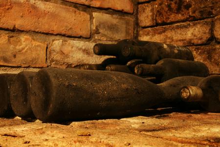 Old wine bottles in cellar
