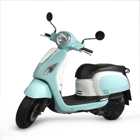 Blue Scooter with white background Фото со стока - 117277972