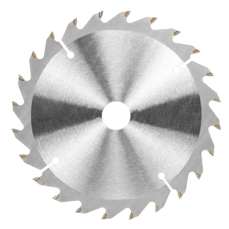 Circular saw blade for universal work wood. Isolated on white background.