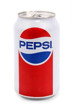 Nachod, Czech Republic October 22 2018: photo of Pepsi can on White Background. Pepsi Company