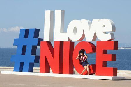 NICE, FRANCE - July, 2018: Modern urban art on promenade of Nice made as hashtag #ILoveNice is popular photo and selfie spot for tourists. Redakční