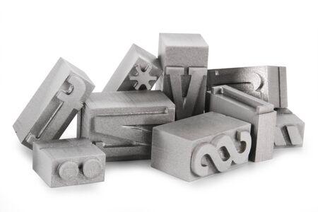 Alte Metall-Buchdruckklischeesth Standard-Bild
