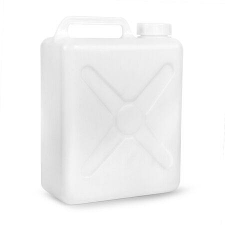 Transparent plastic gallon, jerry can isolated on a white background Reklamní fotografie - 128382240